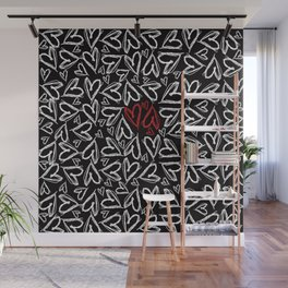 Hearts drawn with chalk Wall Mural