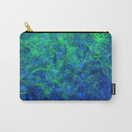 Neon blue green psychedelic Japanese paper abstract art Carry-All Pouch