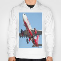 airplanes Hoodies featuring Air Berlin Airbus A330-223 Take-off Miami airplanes USA D-ALPJ by Yan David