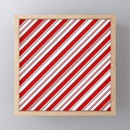 winter holiday xmas red white striped peppermint candy cane Framed Mini Art Print