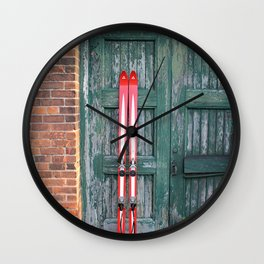 Vintage Skis - Fischer Silverglass Wall Clock
