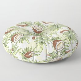 Caribbean Coconut Seamless Pattern Tropical Leaves Floor Pillow