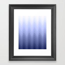 Zigzag. White, blue, dark blue Ombre. Framed Art Print