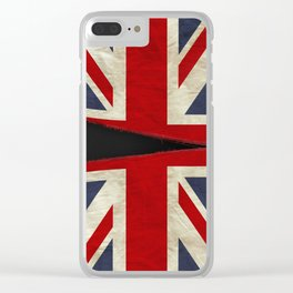 Ripped Union Jack Clear iPhone Case