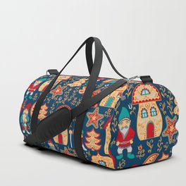 Fairy gnomes and magic houses.  Christmas trees, months and stars. Seamless Pattern in folk style. Duffle Bag