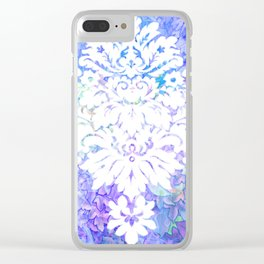 White Pattern on Floral Background Clear iPhone Case