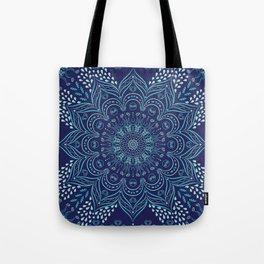 Navy blue and teal mandala pattern Tote Bag