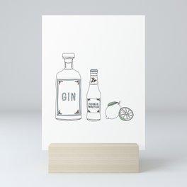 Gin tonic and lime illustration Mini Art Print