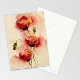 Watercolor Poppies in Red, Pink Yellow, Green and Purple on Yellow Stationery Cards