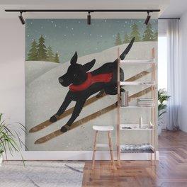 Black Dog Labrador Ski Mountain Wall Mural