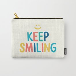 Keep Smiling - Colorful Happiness Quote Carry-All Pouch