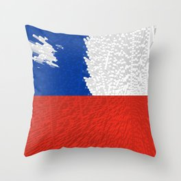 Extruded Flag of Chile Throw Pillow