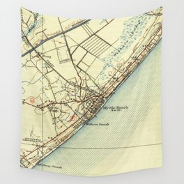 Vintage Map of Myrtle Beach South Carolina (1940) Wall Tapestry
