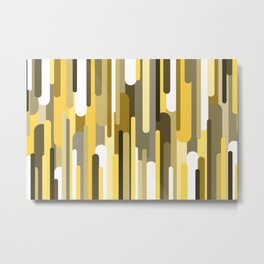 Flowing drops of paint in gold yellow, abstract liquid flow, golden background Metal Print