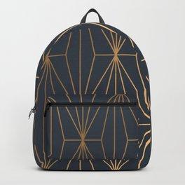 Navy Blue Geometric Gold Pattern  Backpack