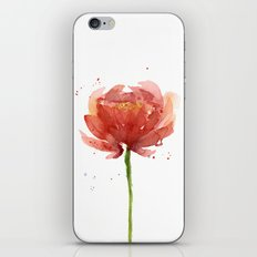 Red Flower Watercolor Floral Painting iPhone & iPod Skin