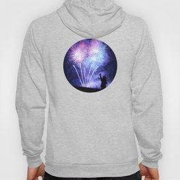 Blue and pink fireworks Hoody