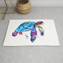 Sea Turtle, Blue Purple Turtle illustration, Sea Turtle design Rug