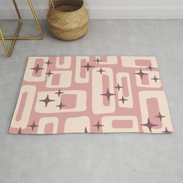 Retro Mid Century Modern Abstract Pattern 576 Dusty Rose Rug