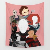 league Wall Tapestries featuring League of Evil (white background) by InsertCreativeTitle
