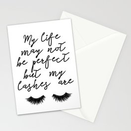 Makeup Print, Make up art, Eye Lashes Eyelashes Printables,Beauty Print, My LIfe is not perfect but Stationery Cards