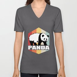 Panda Retro Colorful Sunset Cute Panda Bear Unisex V-Neck