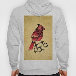 Cardinal and knuckle duster with canvas background Hoody