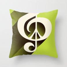 Lime Green Retro Music & Peace  Throw Pillow