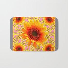 Decorator Sunflower Grey-Coral Color Floral Celtic art Bath Mat