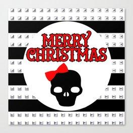 Merry Christmas Hair Bow Skull Canvas Print