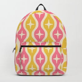 Mid century Modern Bulbous Star Pattern Pink and Yellow Backpack