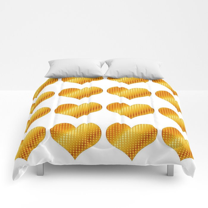 Golden hearts-White Comforters