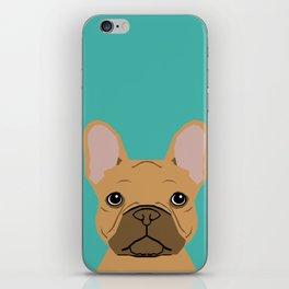 French BUlldog portrait dog breed custom pet portraits by pet friendly frenchie iPhone Skin