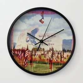 Land Of The Free Because Of The Brave Wall Clock