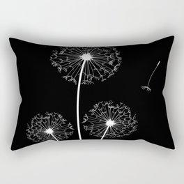 Dandelion Three White on Black Background Rectangular Pillow