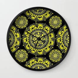Black and Gold Regal Mandala Textile Wall Clock