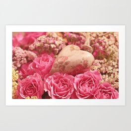 Pink Roses of Love Art Print