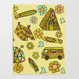 wanderlust // dream homes among the waves // surfy birdy art Poster