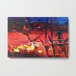 Dragon attacks Lake-town 110x160 cm S053 Large impressionism acrylic painting on unstretched canvas Metal Print