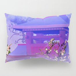 Cherry tree blossom in front of the temple Pillow Sham