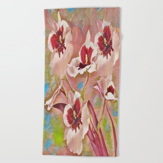 Painted Orchids Beach Towel