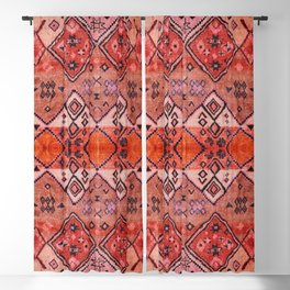 N52 - Pink & Orange Antique Oriental Traditional Moroccan Style Artwork Blackout Curtain