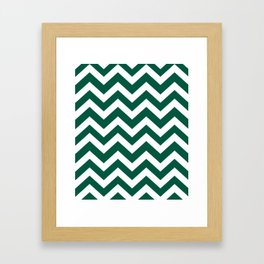 Castleton green - green color -  Zigzag Chevron Pattern Framed Art Print