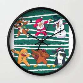 Dabbing Celebration Christmas Santa Teem Wall Clock