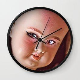 Pink Doll Face Wall Clock