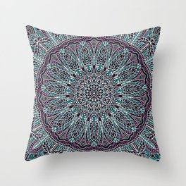 Mandala white pink and cyan lace Throw Pillow