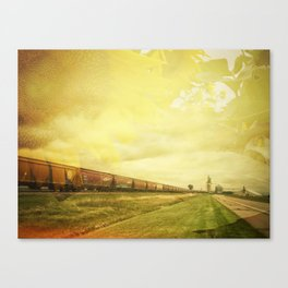 Freight Train And Sunflowers Double Exposure Canvas Print