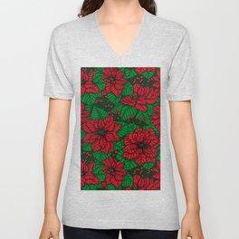 Poinsettia, Christmas pattern Unisex V-Neck