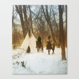 The winter camp - Crow (Apsaroke) Indians Canvas Print