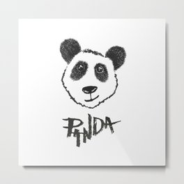 Cute Black and White Hand Drawn Panda Typography Metal Print